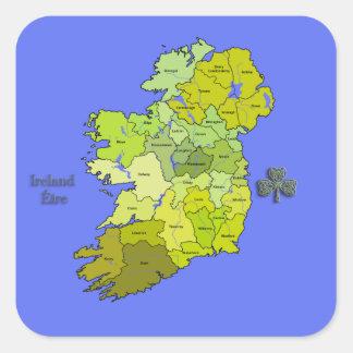 All Irish Map of Ireland Square Sticker