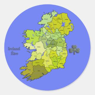 All Irish Map of Ireland Round Sticker