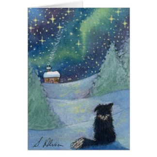 All is bright Border Collie dog Greeting Card
