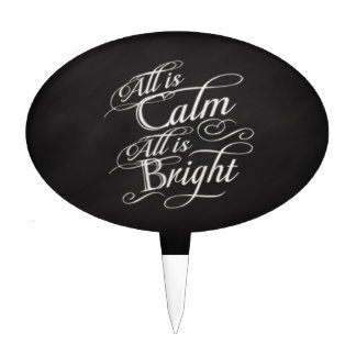 All is Calm, All is Bright Chalkboard Christmas Cake Topper
