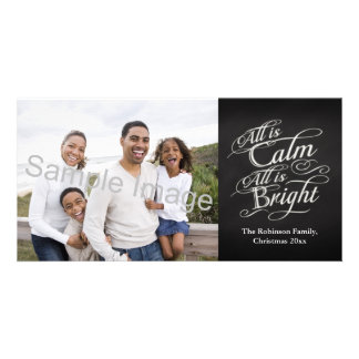 All is Calm, All is Bright Chalkboard Christmas Photo Card