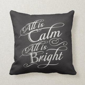All is Calm, All is Bright Chalkboard Christmas Throw Pillows