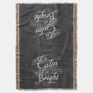 All is Calm, All is Bright Chalkboard Christmas Throw