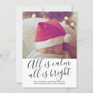All Is Calm All Is Bright Personalized Christmas Holiday Card
