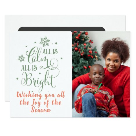 All is Calm/Christmas Quote/2-Sided Card/Green Card