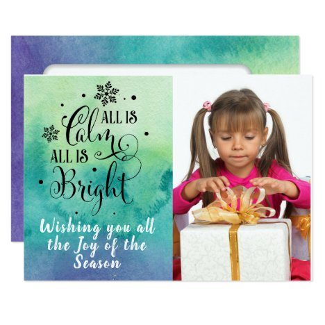 All is Calm/Christmas Quote/2-Sided Card-Watercolo Card