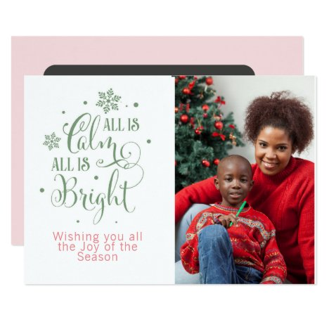 All is Calm/Christmas Quote/2-Sided Personalized Card