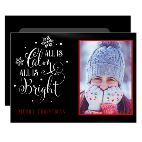 """All is Calm"", Elegant Two Sided Photo Christmas Card"