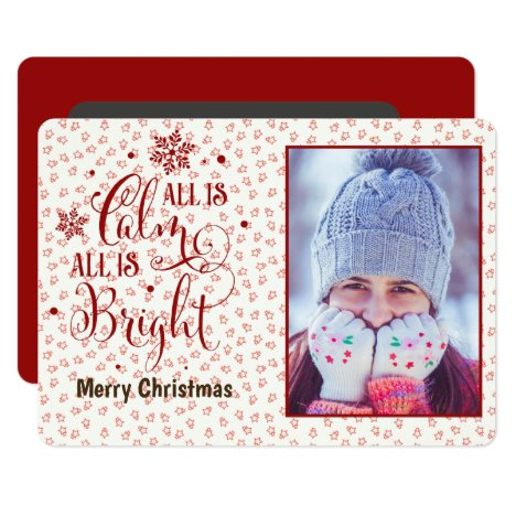 """All is Calm"", Red Star Two Sided Photo Christmas Card"