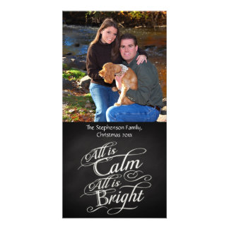 All is Calm, Vertical Chalkboard Christmas Photo Greeting Card