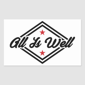All Is Well New Age Affirmation Black, Red & White Rectangular Sticker