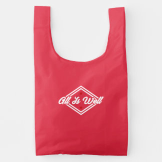All Is Well New Age Affirmation White And Red Reusable Bag