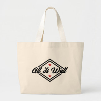 All Is Well New Age Black And Red Typography Logo Large Tote Bag