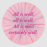 All is well, pink & blue affirmation stickers