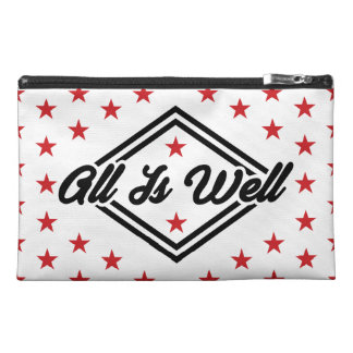 All Is Well Stars Pattern Black, Red And White Travel Accessory Bag