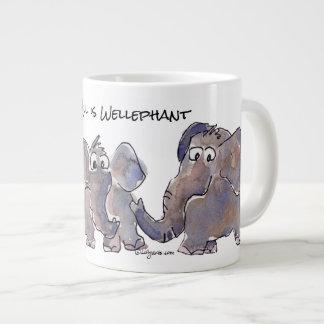 All is Wellephant 3 Cartoon Elephants Large Coffee Mug