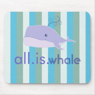 All is Whale (Blue, Aquatic Stripes) Mouse Pad
