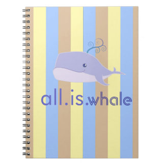 All is Whale (Blue, Ocean Stripes) Notebook