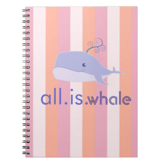 All is Whale (Blue, Pink Stripes) Notebook