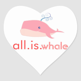 All is Whale (pink) Heart Sticker