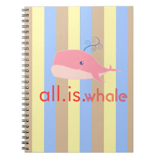 All is Whale (Pink, Ocean Stripes) Notebook