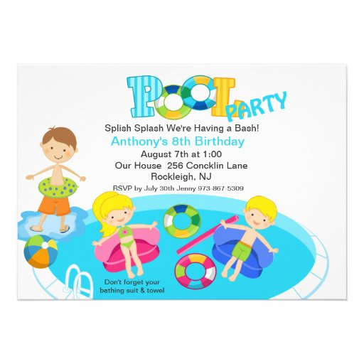All Kids Blue Pool Party Birthday Invitation