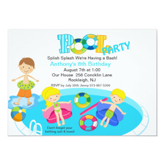 "All Kids Blue Pool Party Birthday Invitation 5"" X 7"" Invitation Card"
