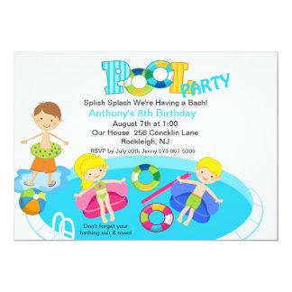 All Kids Blue Pool Party Birthday Invitation