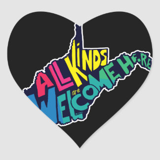 All Kinds are Welcome Here Heart Sticker