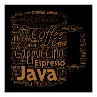 All Kinds of Coffee Word Art Poster