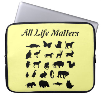 """All Life Matters"" Animal Collage Laptop Sleeve"