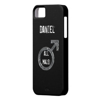 All Male!-Male Sign/Faux Metal+Name iPhone SE/5/5s Case