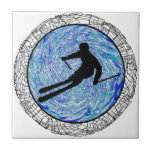 ALL MOUNTAIN SKIING SMALL SQUARE TILE