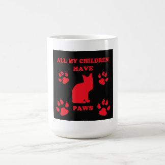 All My Children Have Paws Coffee Mug~Black/Red Coffee Mug