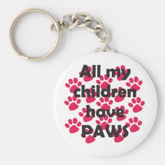 All My Children Have Paws Basic Round Button Keychain