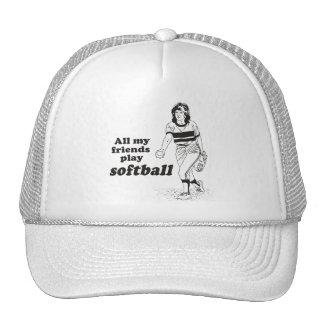 All my friends play softball mesh hat