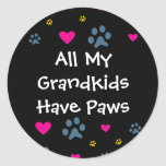 All My Grandkids-Grandchildren Have Paws Classic Round Sticker