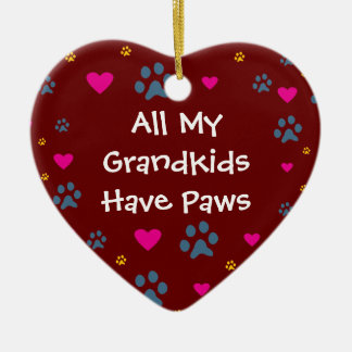 All My Grandkids-Grandchildren Have Paws Double-Sided Heart Ceramic Christmas Ornament