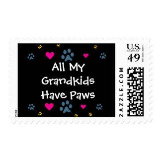 All My Grandkids-Grandchildren Have Paws Postage Stamps