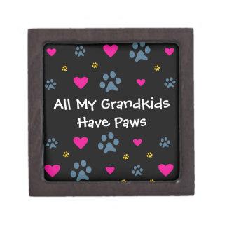 All My Grandkids-Grandchildren Have Paws Premium Trinket Box