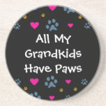All My Grandkids-Grandchildren Have Paws Sandstone Coaster