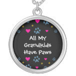 All My Grandkids-Grandchildren Have Paws Silver Plated Necklace