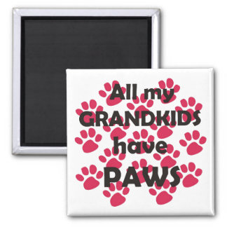 All My Grandkids Have Paws 2 Inch Square Magnet