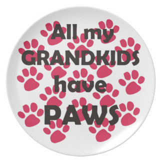 All My Grandkids Have Paws Party Plate