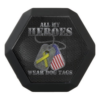 All My Heroes Wear Dog Tags Black Bluetooth Speaker