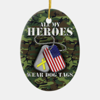 All My Heroes Wear Dog Tags - Camo Ceramic Ornament
