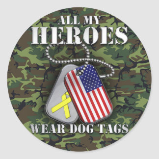All My Heroes Wear Dog Tags - Camo Classic Round Sticker