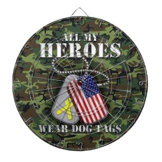 All My Heroes Wear Dog Tags - Camo Dartboard