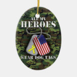 All My Heroes Wear Dog Tags - Camo Double-Sided Oval Ceramic Christmas Ornament