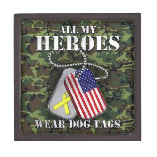 All My Heroes Wear Dog Tags - Camo Keepsake Box